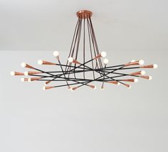 Anonymous; Copper and Enameled Metal Ceiling Light by Stilnovo, c1950