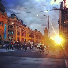 Sunset at Flinders Street Station by ryanblair01