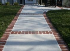 Soldier Brick Border On Natural Gray Patio Outside