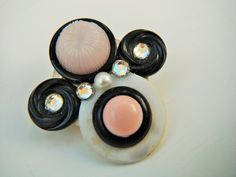Pink Pin Chunky Button Pin Black Pin Button Jewelry by mscenna, $8.00