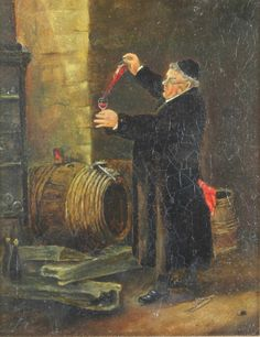 """Lot 382 A 19th Century Continental oil on board, study of a monk decanting wine 9"""" x 6 1/2"""", est £40-60"""