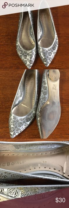 """EUC BCBG Shoes Pointy toe with flower design.  BCBG """"Girls"""" collection. Worn less than a handful of times. A great addition to any closet. Questions are welcome.  Thanks for looking! BCBG Shoes"""