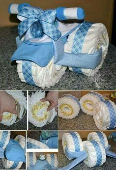 Baby Shower Gift Ideas ~ Such a cute diy baby gift idea. Bricolage Baby Shower, Cadeau Baby Shower, Idee Baby Shower, Bebe Shower, Baby Shower Cakes, Fiesta Baby Shower, Baby Shower Diapers, Baby Boy Shower, Baby Shower Gifts