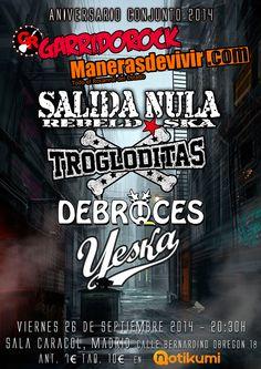 Entradas para Salida Nula + Trogloditas + Debruces + Yeska en Madrid el 26 de septiembre 2014 en notikumi