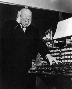 Alfred Hitchcock trying the Trautonium used for the soundtrack of The Birds