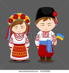 Ukrainians in national dress with a flag. A man and a woman in traditional costume. Travel to Ukraine. People. Girl and boy. Vector flat illustration.