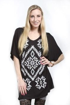 Vocal Inc.> T-Shirts> 12610SX-Black Plus Size Short Sleeve Top W.Stone and Print Detail/Color: Jade, Coral, Black, Gray usfashionstreet.com