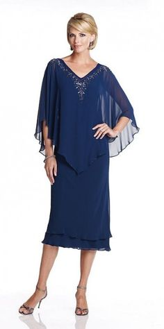 Capri CP11472 Draped Tea Length Mothers Wedding Dress