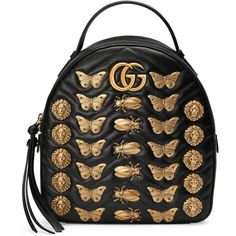 Gucci Gg Marmont Animal Studs Leather Backpack (£1,610) ❤ liked on Polyvore featuring bags, backpacks, bags backpacks, black, handbags, new gg marmont, women, real leather backpack, pocket backpack and leather zip backpack