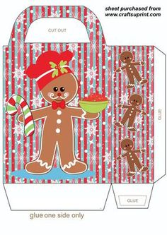 Christmas gingerbread gift bag 5 on Craftsuprint designed by Sharon Poore - Christmas gingerbread gift bag,you will need to print 2 sheets to make the gift bag - Now available for download!