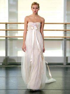 Empire Strapless Tulle Satin Floor-length Ivory Flowers Wedding Dresses at Millybridal.com