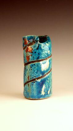 Oval Ceramic Handmade Raku Vase in Bright Turquoise by PCanPotter, $35.53
