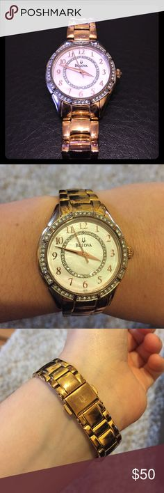 Bulova Mother of Pearl watch with Diamond Accents Watch is in good condition. Has normal wear on band. Has never been cleaned, needs new battery. Beautiful watch! I've received so many compliments wearing it! Bulova Accessories Watches