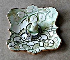 Small Ceramic  Ring Holder  moss green lace with vine 3 inches wide edged in gold