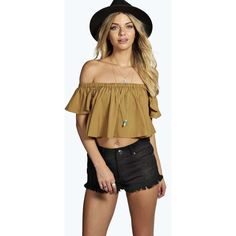 Boohoo Sophie Woven Ruffle Off The Shoulder Top ($14) ❤ liked on Polyvore featuring tops, off the shoulder long sleeve top, brown crop top, off the shoulder tops, flat top and flounce tops
