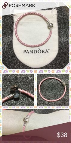 "Pandora pink leather warp bracelet New without tag never used size 7.4"" color pink come with pandora pouch Price firm unless bundle Pandora Jewelry Bracelets"