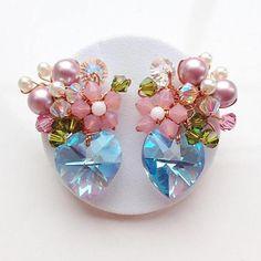 Aquamarine purple stud earrings using Swarovski elements and Silver earrings stud. Small Earrings, Pink Earrings, Beaded Earrings, Etsy Earrings, Earrings Handmade, Handmade Jewelry, Funky Jewelry, Cute Jewelry, Aquamarine Earrings