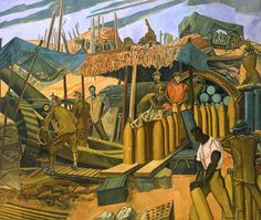 A Canadian Gun-pit, The Battle of Vimy Ridge as depicted by Percy Wyndham Lewis in Transformers, Wyndham Lewis, Ww1 Art, Military Cemetery, British West Indies, Flanders Field, Art For Art Sake, World War I, Wwi