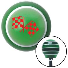 Red Checkered Flags Green Stripe Shift Knob with M16 x 15 Insert