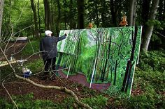 Pic: David Hockney while working on his canvas. David Hockney, (born 9 July 1937) is an English painter, draughtsman, printmaker, stage designer and photographer. He is based in Bridlington, Yorkshire, and Kensington, London.