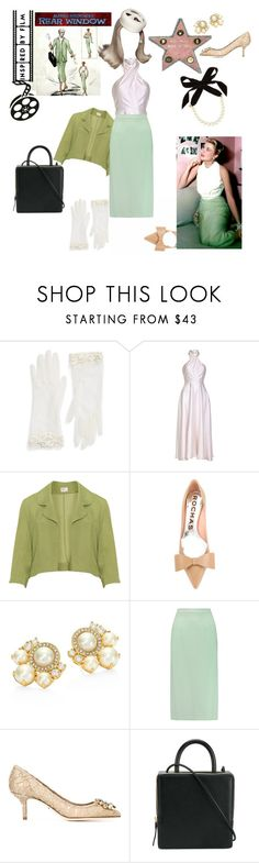 """INSPIRED BY FILM. Grace Kelly, ""Rear Window"""" by egchee ❤ liked on Polyvore featuring Rosa Clará, Safiyaa, Rochas, Kate Spade, Roland Mouret, Dolce&Gabbana, Building Block and Lulu Frost"