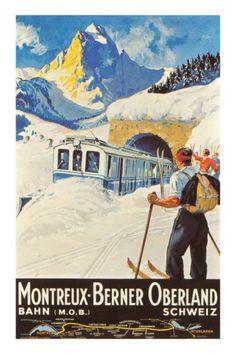 'Montreux Berner Oberland Schweiz Vintage Travel Poster' Poster by vintagetravel Old Poster, Retro Poster, Poster Ads, Advertising Poster, Print Poster, Ski Vintage, Vintage Ski Posters, Photo Vintage, Train Posters