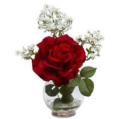 Nearly Natural Rose & Gypso w/Fluted Vase Silk Flower Arrangement