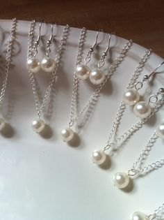 Set of 8 Bridesmaid Necklace and Earring Sets, 8 Pearl Sets, Bridesmaid Pearl Jewelry Sets, Single Pearl Necklace Sterling Silver Chain 0133 Single Pearl Necklace, Pearl Set, Swarovski Pearls, Pearl Pendant, Sterling Silver Necklaces, Bridesmaid Gifts, Earring Set, Handmade Jewelry, Wedding Ideas