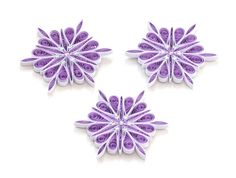 Snowflake Purple White Quilled Handmade Art Paper Quilling