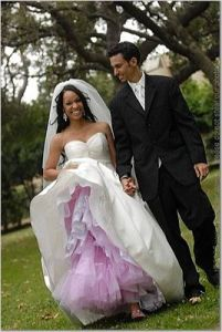 peek of color under your wedding frock with a dyed crinoline...