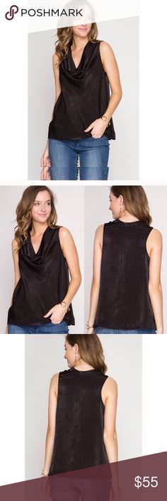 🆕 JUST IN 🆕 Satin drape neck sleeveless top Drapes beautifully. It's a satin poly. Perfect with jeans or under a suit. Tops Blouses