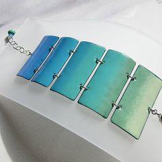 Turquoise Enamel Bracelet, Enamel Jewelry, Blue Turquoise Green Ombre Cuff, Handmade Bohemian Jewelry