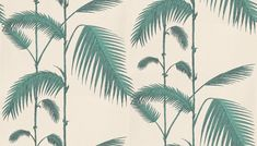 Palm Leaves Wallpaper by Cole & Son - tropical - Wallpaper - Wallpaperdirect Palm Leaf Wallpaper, Tropical Wallpaper, Grey Wallpaper, Print Wallpaper, Photo Wallpaper, Cole Son, Cole And Son Wallpaper, Summer Barbeque, Drops Patterns