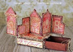 Beautiful accordion book in an altered matchbox :) Matchbox Crafts, Matchbox Art, Altered Tins, Altered Art, Paper Art, Paper Crafts, Chipboard Crafts, Handmade Books, Handmade Journals