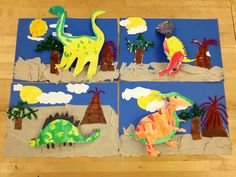 Dinosaur collage/elementary art (art teacher: v. Dinosaur Projects, Dinosaur Crafts, Dinosaur Art, Dinosaurs Preschool, Preschool Crafts, Craft Activities, Classroom Art Projects, Projects For Kids, Painting For Kids
