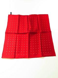 Turnbull & Asser silk pocket square red white polka dot - Tweedmans Vintage
