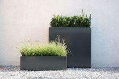 Modern steel outdoor planter.