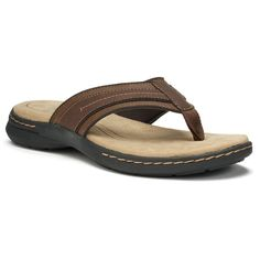 Enjoy leisurely comfort and style in these men's Ortholite sandals by Croft & Barrow. Leather Slippers, Mens Slippers, Leather Sandals, Men Sandals, Flip Flop Shoes, Flip Flops, Most Comfortable Sandals, Mens Fashion, Medium