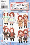 Raggedy Ann & Andy Doll & Clothes Pattern - Simplicity 3945