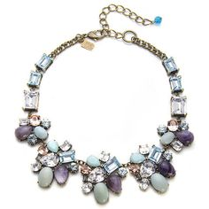 Badgley Mischka Multicolor Pastel Bib Necklace ($695) ❤ liked on Polyvore