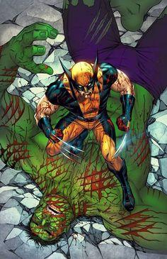 #Hulk #Fan #Art. (Wolverine Vs. Hulk) By: Mike S. Miller&Teodoro Gonzalez. ÅWESOMENESS!!!™ ÅÅÅ+
