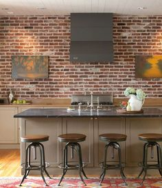 brick wall, wood plank ceiling, wood floors and warm gray cabinets, awesome barstools Outdoor Kitchen Cabinets, Kitchen Stools, Kitchen Brick, Outdoor Kitchens, Kitchen Reno, Porches, Wood Plank Ceiling, Wall Wood, Wall Design