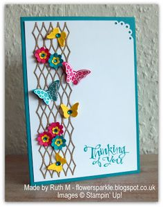 Flower Sparkle: Bright Butterflies & Flowers Thinking Of You Card
