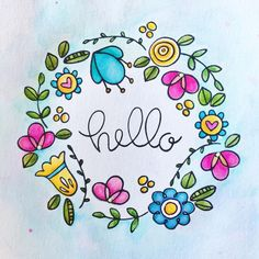 Making wreaths with watercolor and the stamp set I designed for with . Zentangle Drawings, Doodle Drawings, Doodle Art, Doodle Alphabet, Alphabet Art, Bullet Journal Ideas Pages, Bullet Journal Inspiration, Easy Love Drawings, Page Borders Design