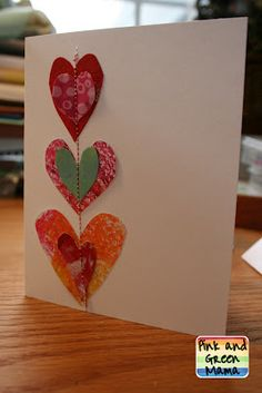 Sew shapes onto cards to make Mother's Day Cards