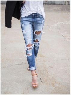 **** Stitch Fix 2017 Summer inspiration! Obsessed with the distressed jean look that is on trend. Stitch Fix has the BEST selections of distressed denim. Get styles just like these from Stitch Fix today! Simply click the picture to get started, fill out your style profile and request items just like these. Who doesn't want their own personal stylist to take the work out of shopping? It's like Christmas every month! Try it today!! #sponsored #StitchFix
