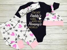 Cutest baby outfit ever! This baby girl outfit is sure to look adorable on your little one! Long sleeve or short sleeve are available. Style your baby girl with this super adorable outfit! Perfect for photos and baby shower gifts! Makes the perfect addition to your little ones