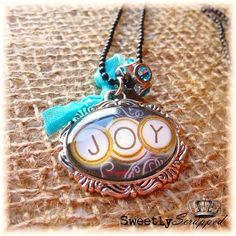 JOY Necklace Vintage Look Aqua Blue and by SweetlyScrappedArt