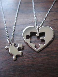 Best Friend Puzzle and Heart Necklace Pendants.. £75.00, via Etsy.