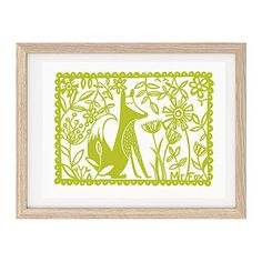 Are you interested in our green fox picture? With our green fox woodland print you need look no further. Graphic Prints, Art Prints, Fox Pictures, Mr Fox, Frames On Wall, Line Drawing, Paper Cutting, Screen Printing, Art Projects